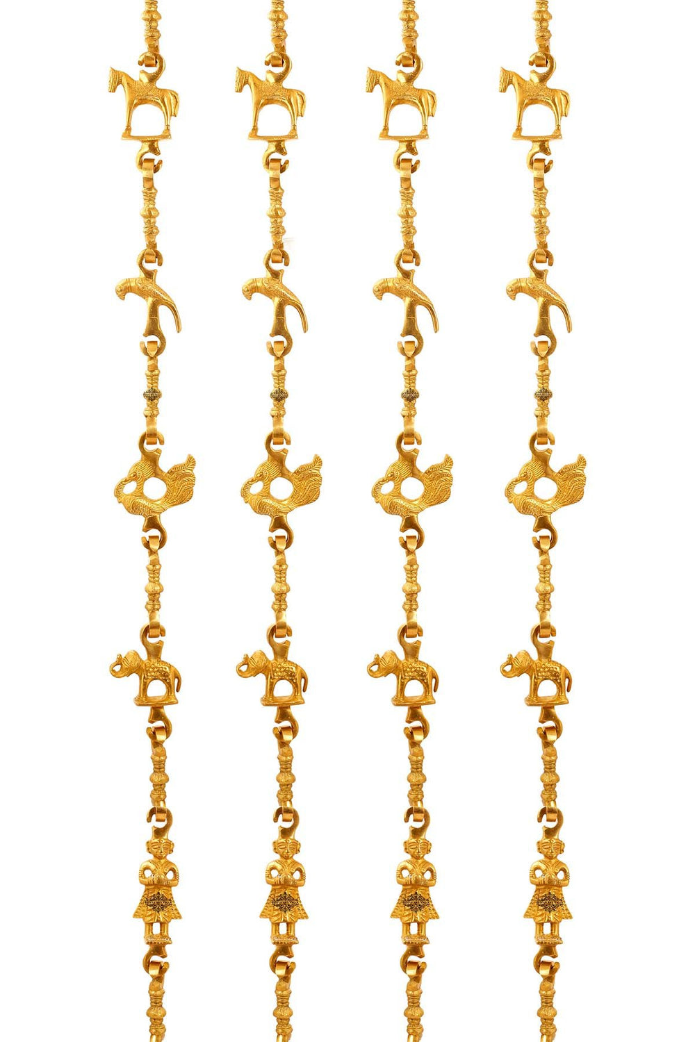 "Brass Swing Jhula Chain | Design:- Horse-Parrot-Peacock-Men Guard-Elephant | Indoor Hanging Link | Approx 76.9"" Each 