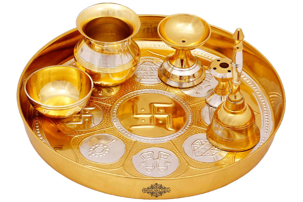 "Astmanghal Brass Puja Thali Set 8.1"" Inch"