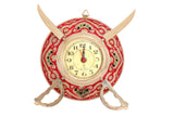 "Brass Handmade Designer Sword & Shield Wall Clock, Showpiece, Diameter 6"" Inch"