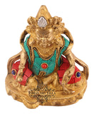 Brass Stone Work Kuber Ji Lord of Wealth Protector of World