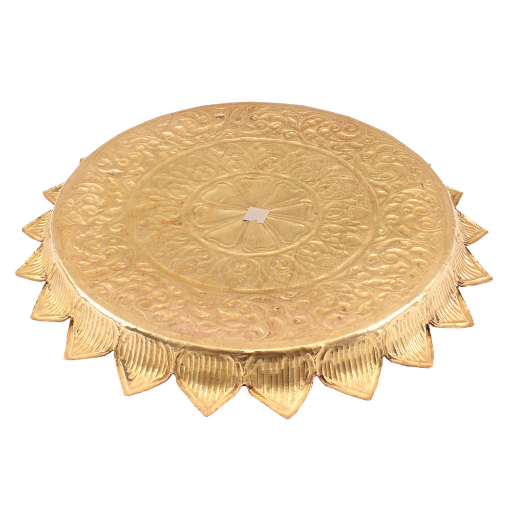 "Brass Flower Design Sunflower Pooja Thali -13"" Dia"