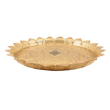 "Brass Flower Design Sunflower Pooja Thali Diameter 13"" Inch"