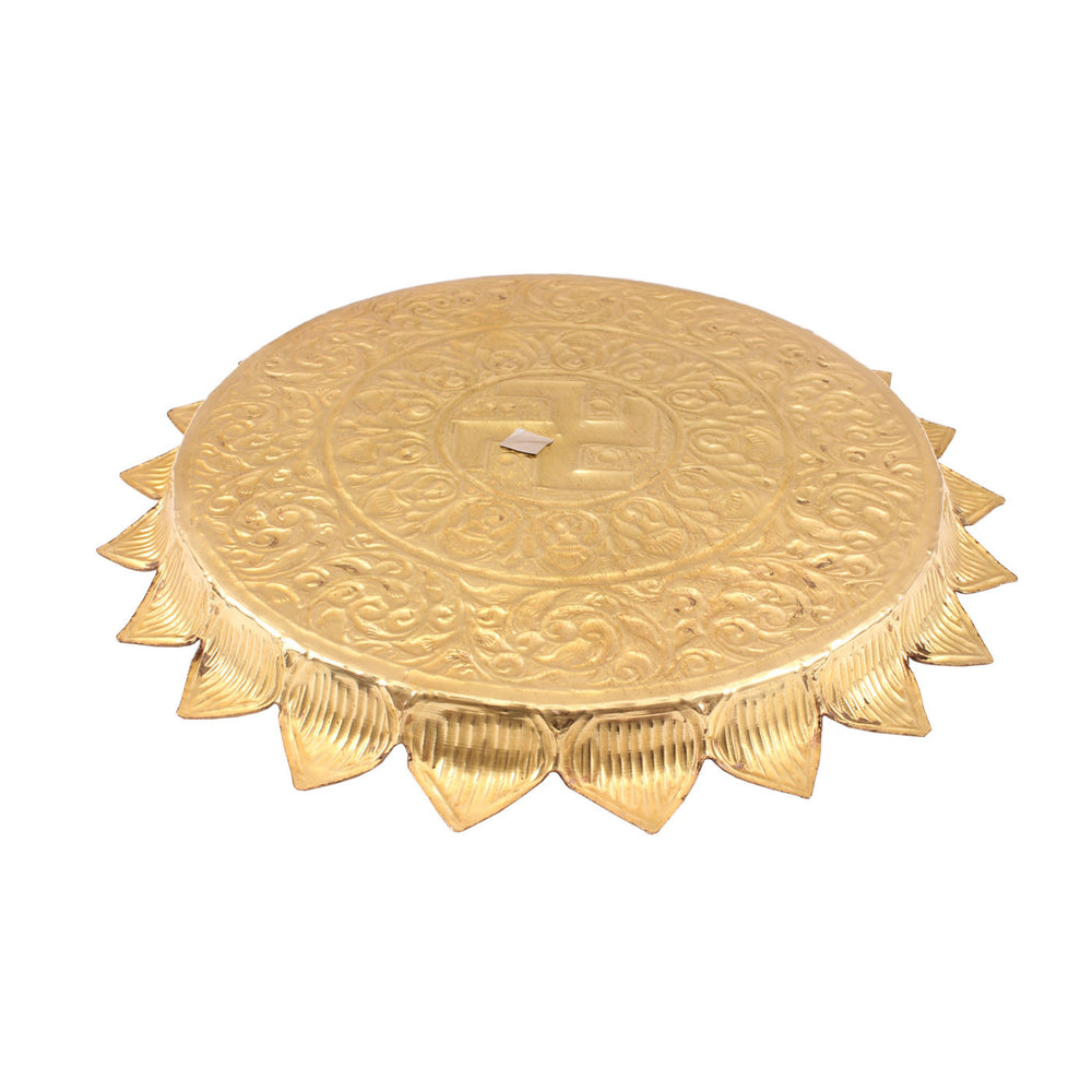 "Brass Swastik Design Sunflower Pooja Thali -13.2"" Dia"