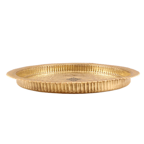 "Brass Flower Design Pooja Thali -13.7"" Dia"