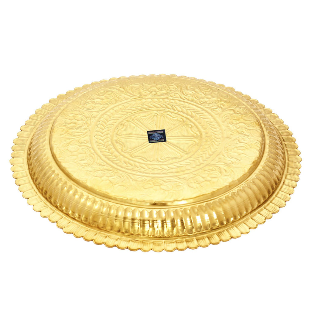 Brass Flower Design Pooja Thali Plate,Poojan Temple Home