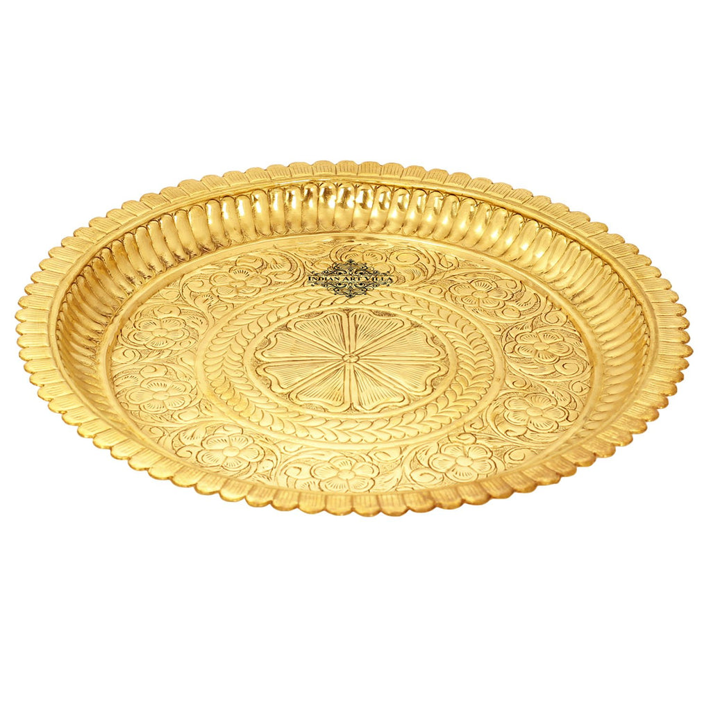 Pooja thali designed brass material