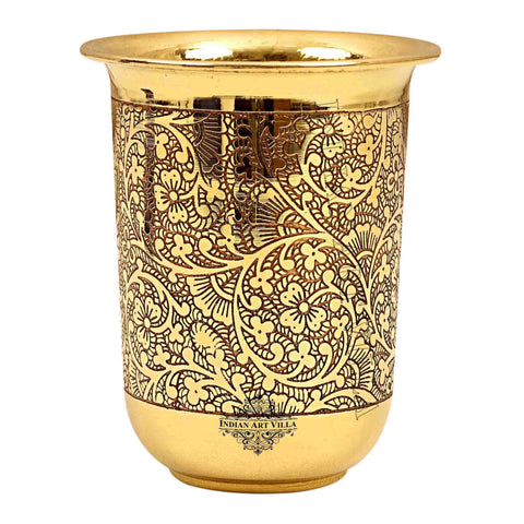 Brass Embossed Curved Glass Tumbler 280 ML