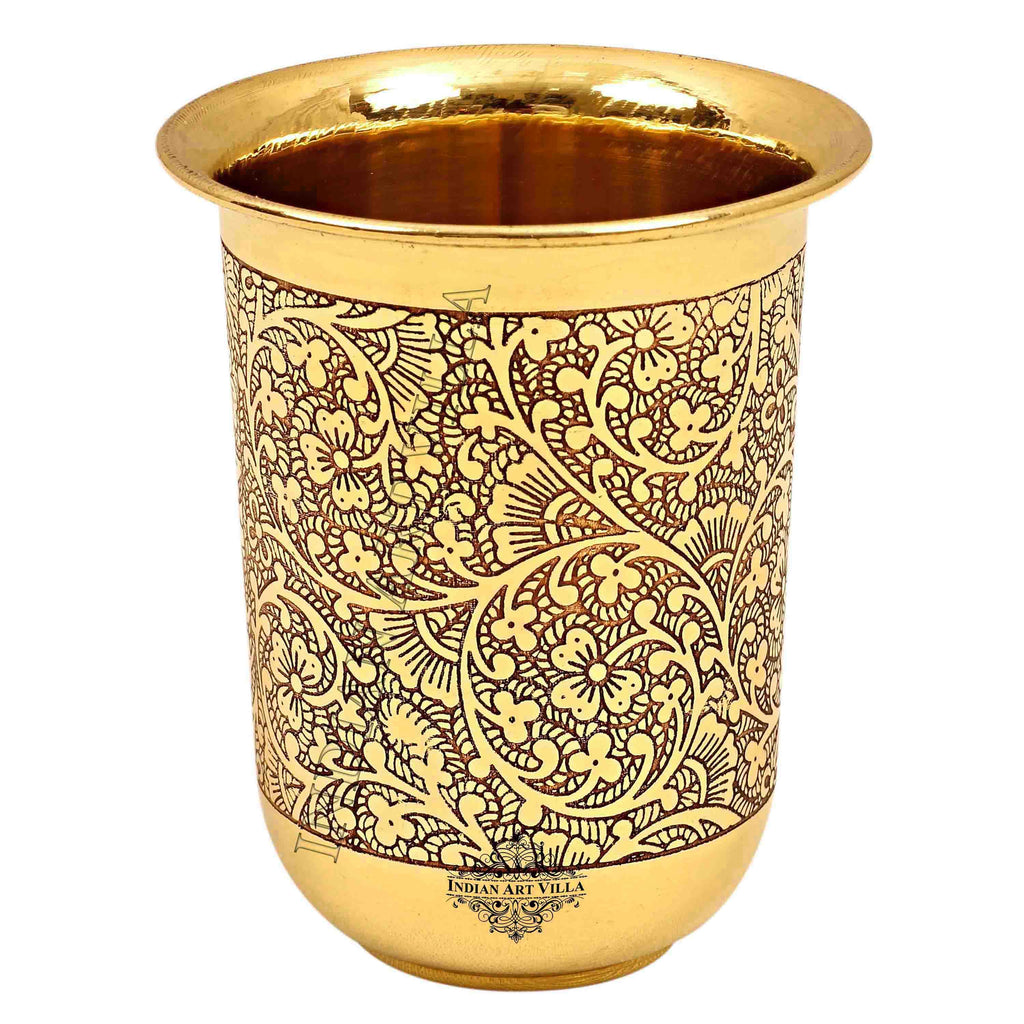 Brass Embossed Design Curved Glass -280 ML