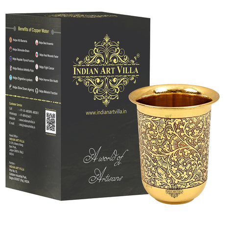Brass Handmade Embossed Curved Design Glass Tumbler 280 ML