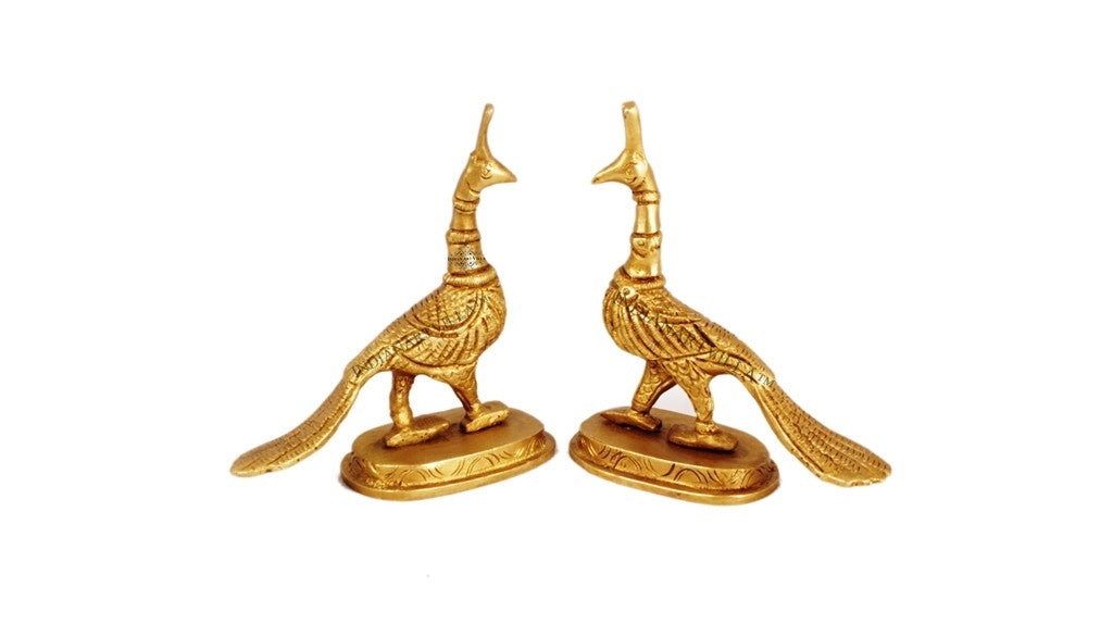 Huge Pair of Peacock Sculptures Metal Brass Gift Item