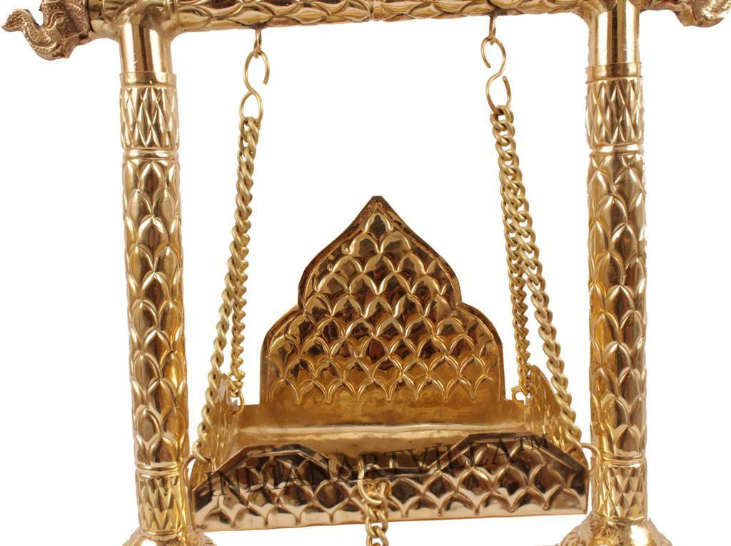 "Brass Designer Laddu Gopal Jhula - 15"" Height"