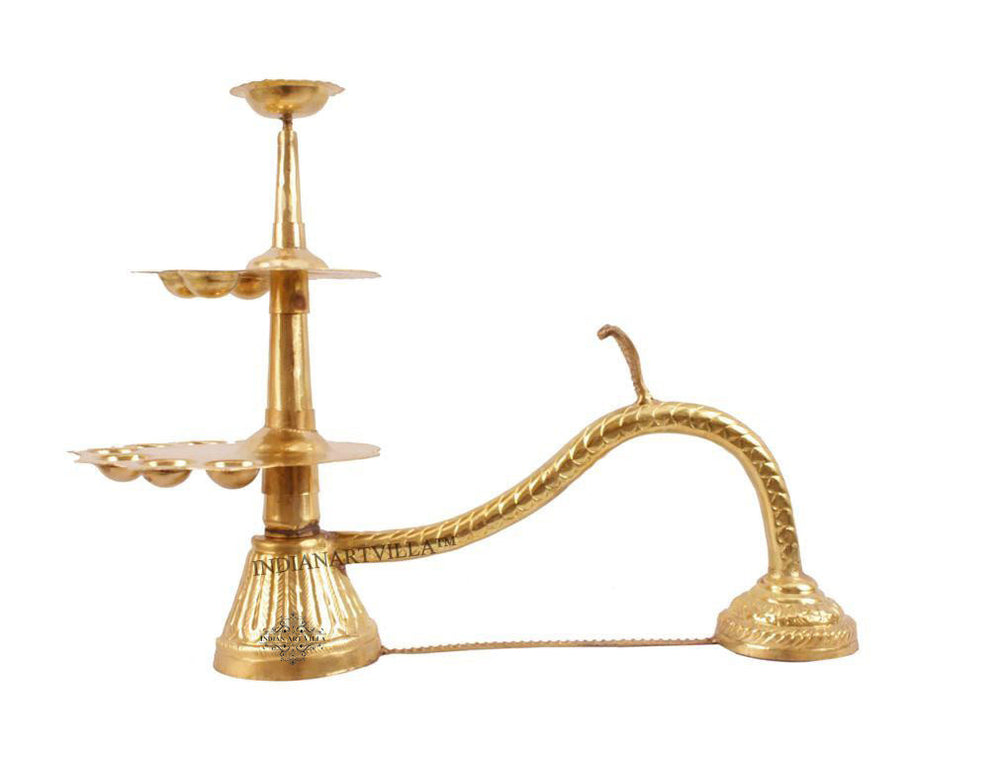 Brass Pooja Arti Diya with 12 Wicks/Batti Holder