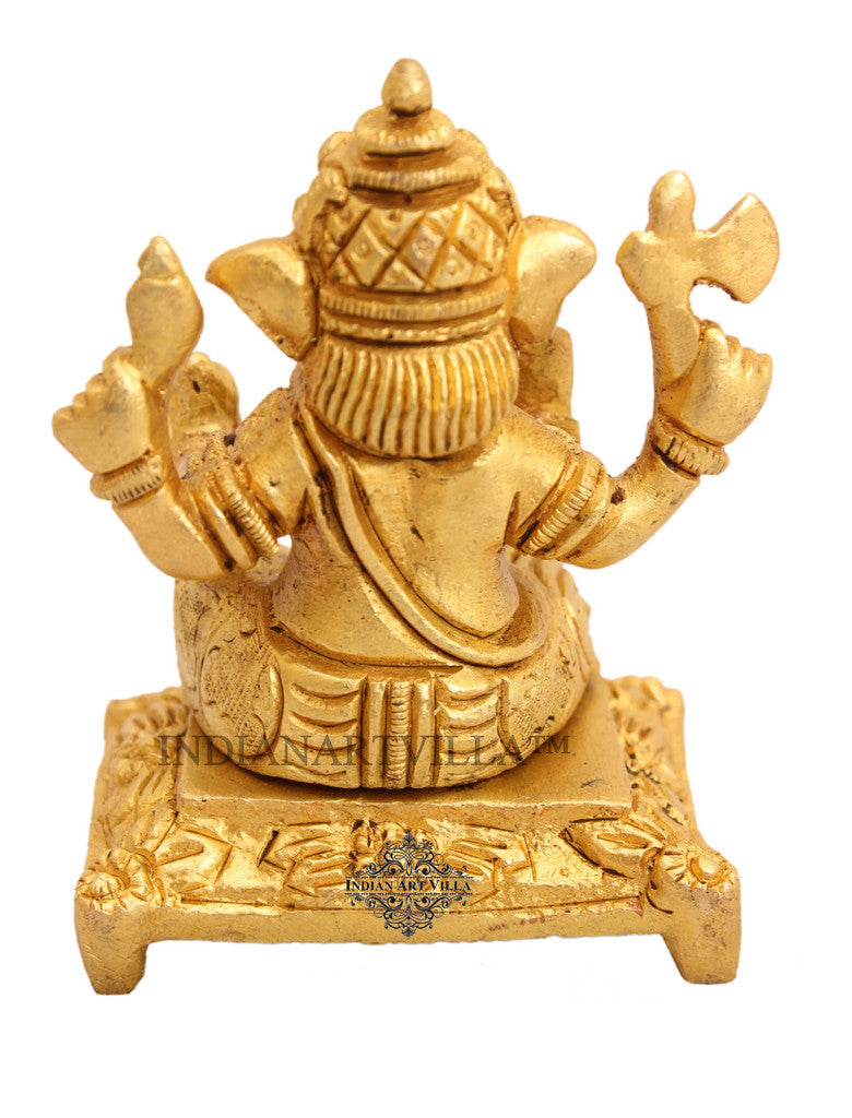 Brass Small Ganesh Ji on Chowki|figurine