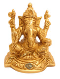 Handmade Sculpted Brass Hindu God Ganesh Ji with Chowki