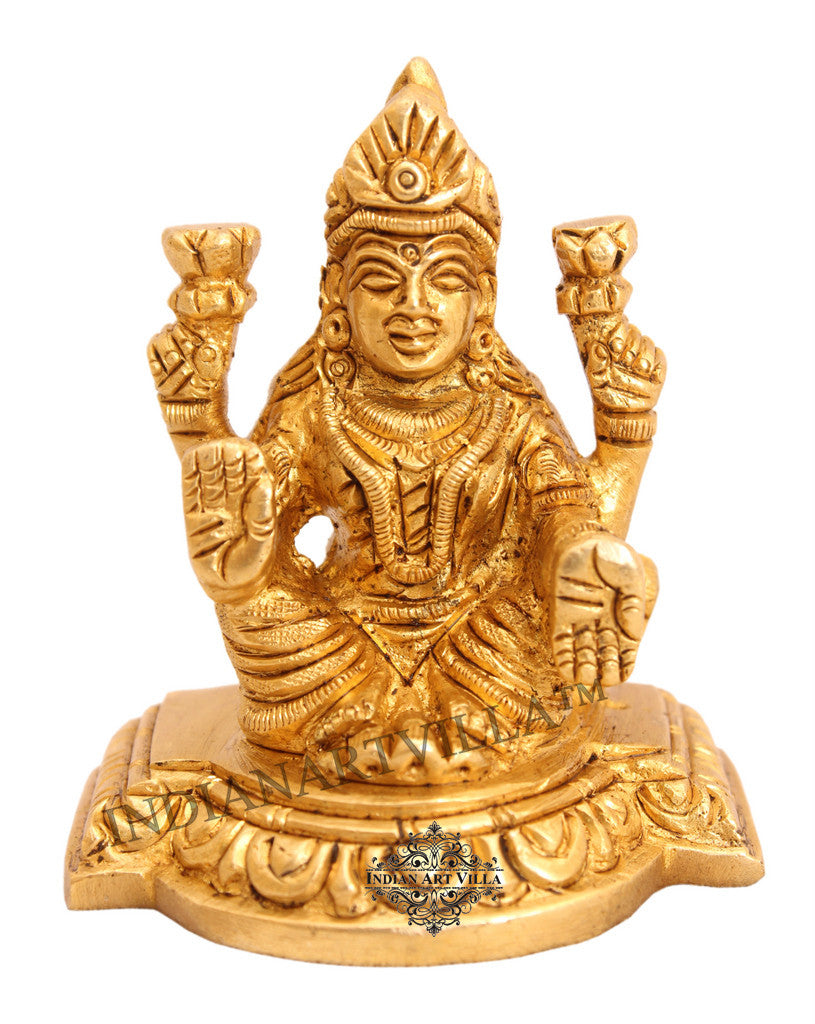 Brass Laxmi Ji on Big Chowki|figurine