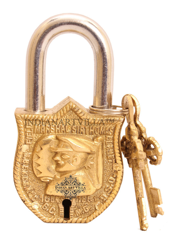 Brass Marshal Design Lock with 2 Key