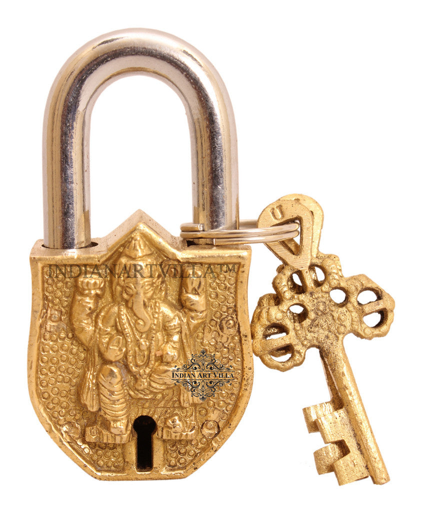 Brass Ganesh Ji Design Lock with 2 Key