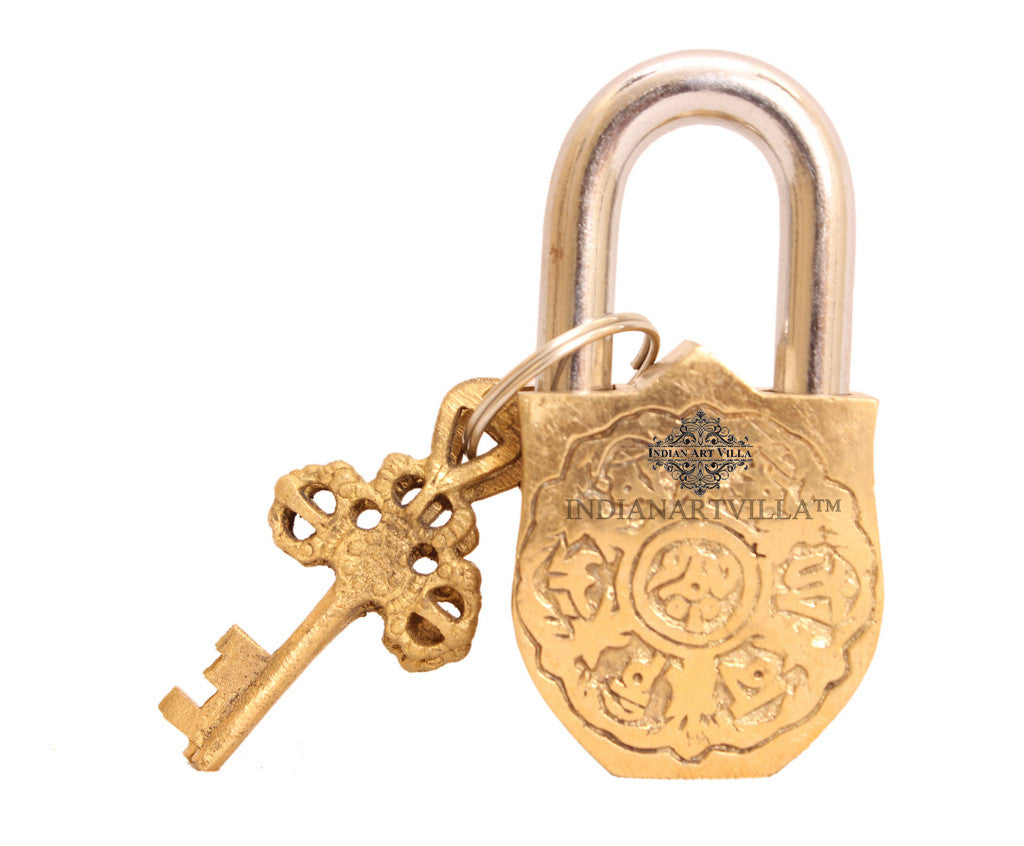 Brass Smalll Marshal Design Lock with 2 Key