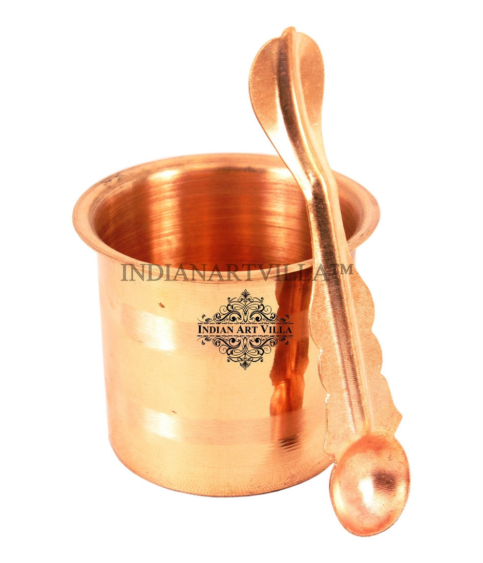 Copper Panch Patra Worship Glass and Spoon