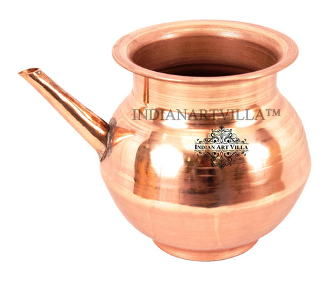 Pure Copper Handmade Plain Design  Ramjhara / Karva 1 L | .5 L