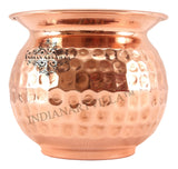 "IndianArtVilla 3.7"" X 4.7"" Copper Hammered Lota Container 700 ML - Storage Water Pooja Temple Home Surya Namaskar"