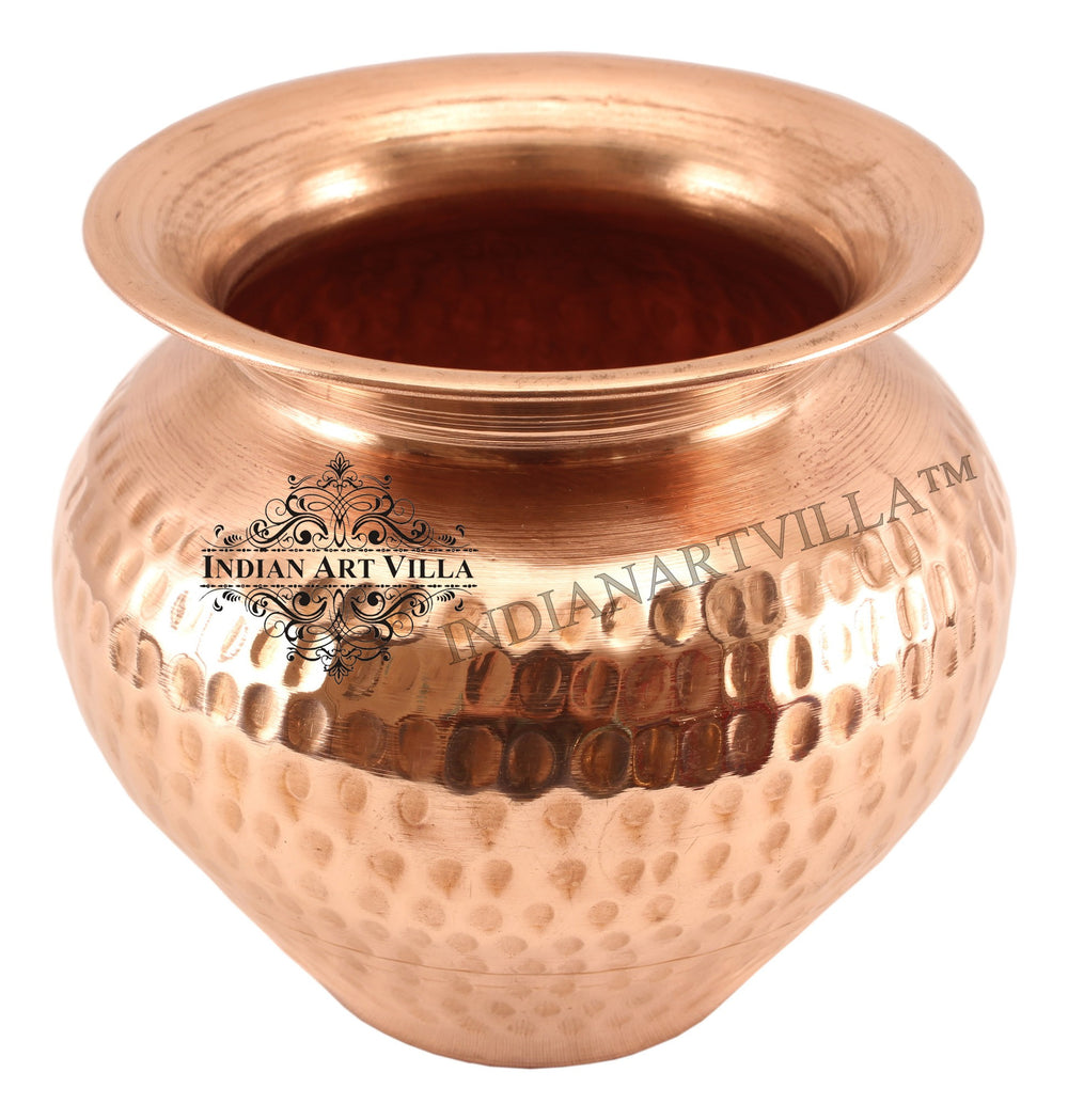 "Copper Hammered Design Lota 4.6"" Inch Height"
