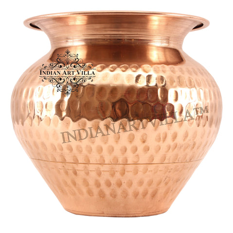 Pure Copper Handmade Hammered Design Lota Container 1000 ML