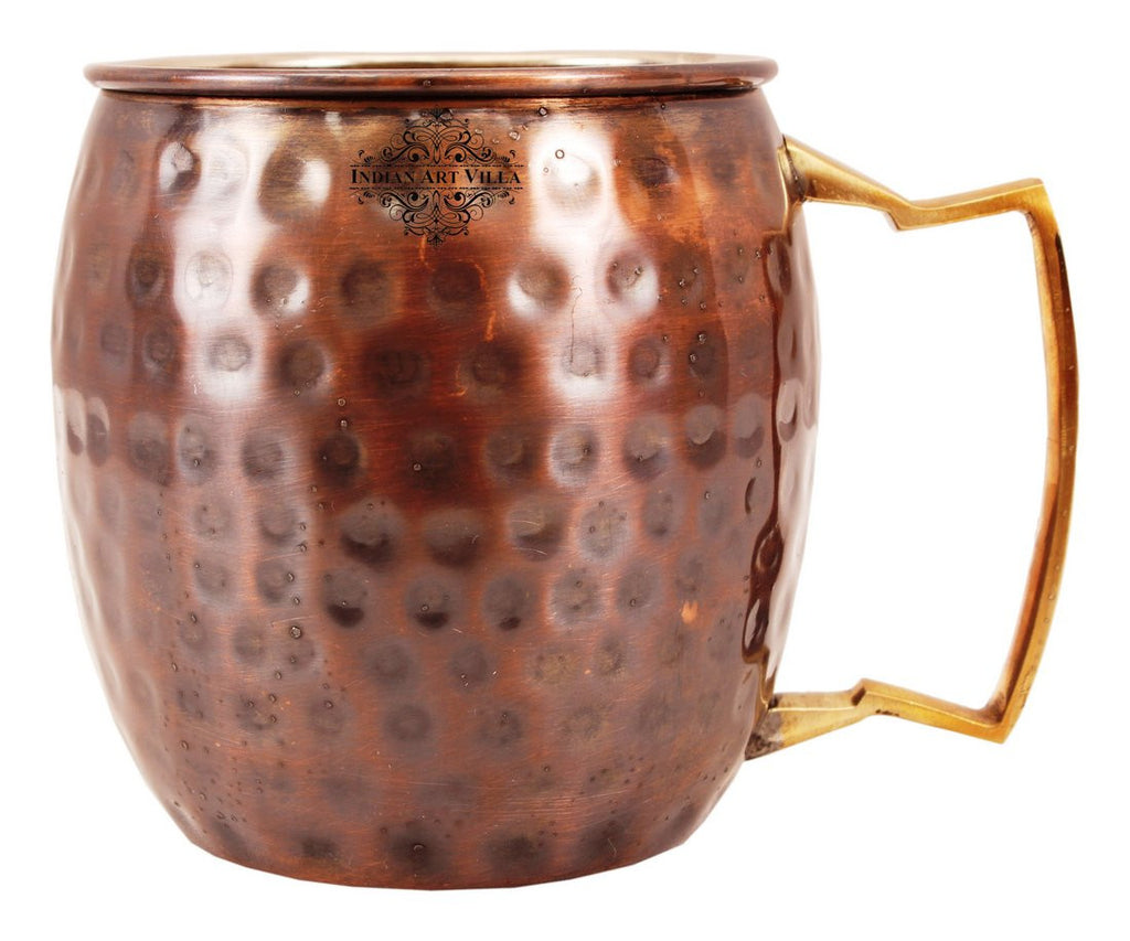 Copper Nickel Black Polish Hammered Mug with Brass Handle