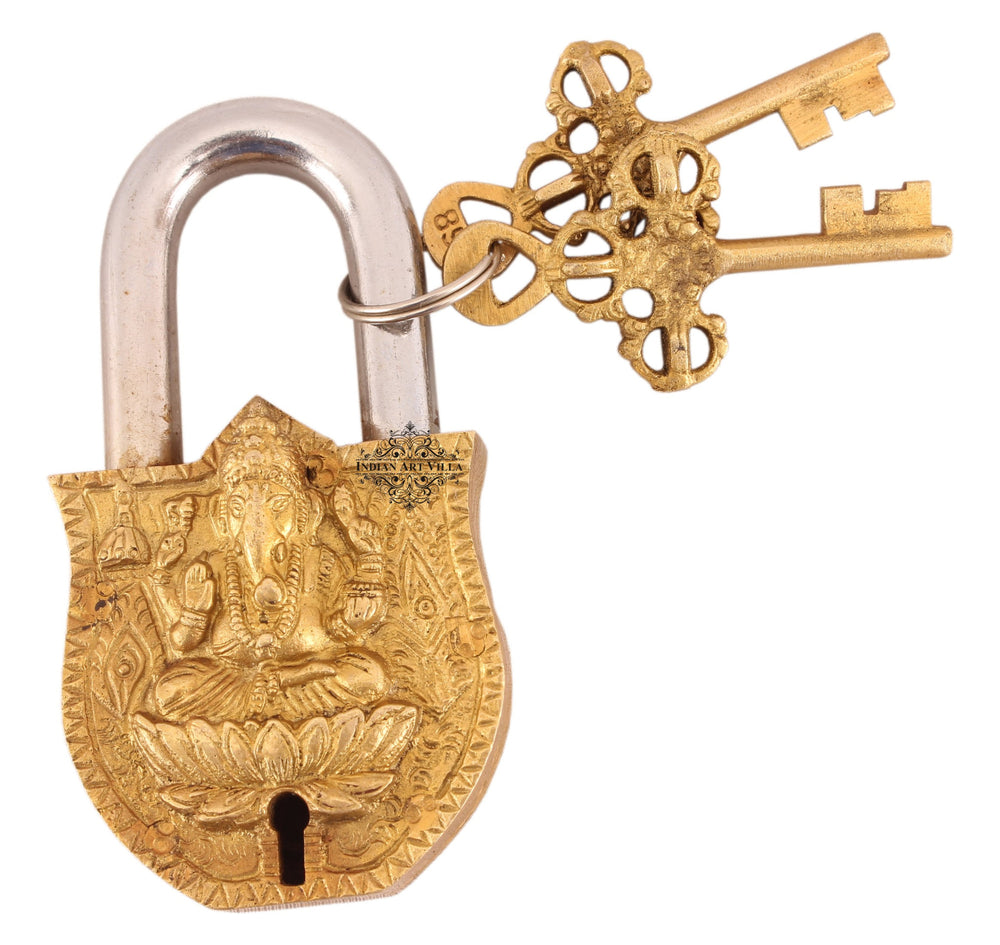 Brass Ganesh Ji Shitting on Lotus Design Lock with 2 Key