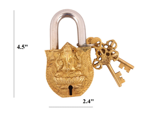 Vintage Style Lord Ganesha Brass Security Lock
