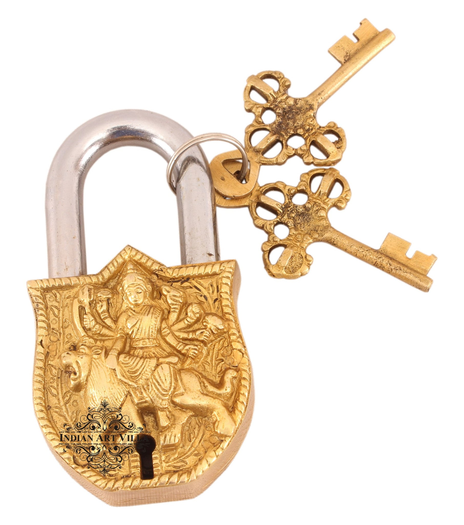 Brass Durga Maa sitting on Lion Design Lock with 2 Key