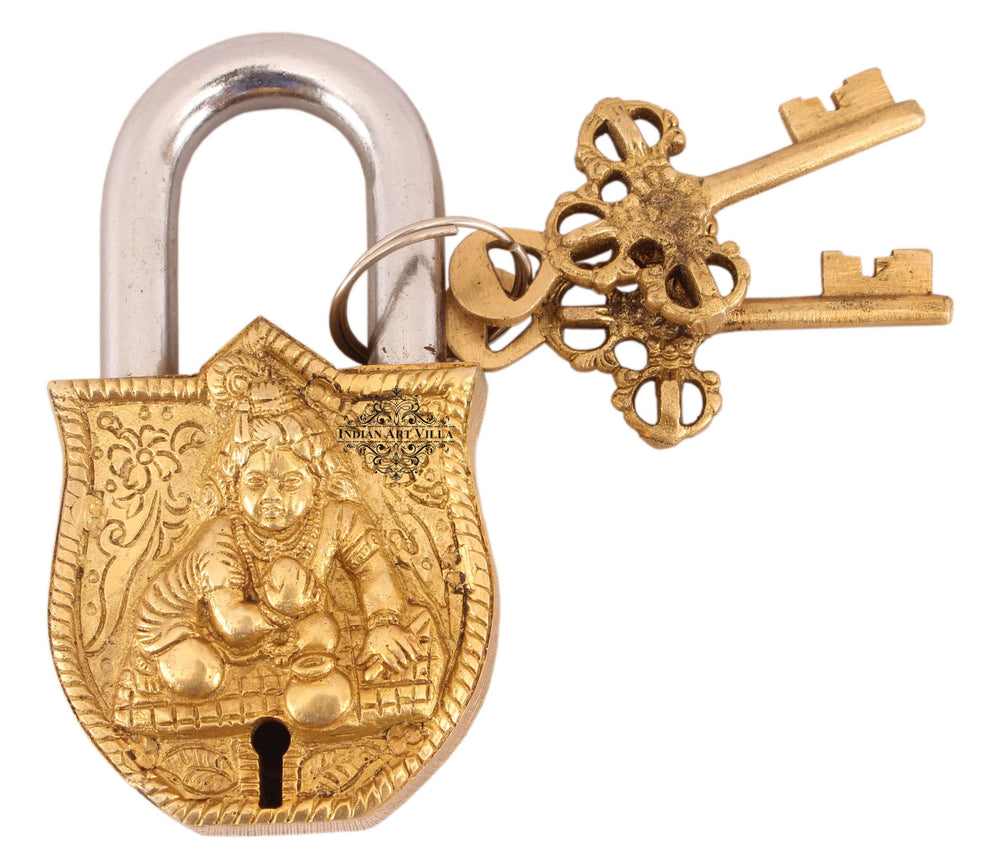 Brass Laddu Gopal Ji Design Lock with 2 Key