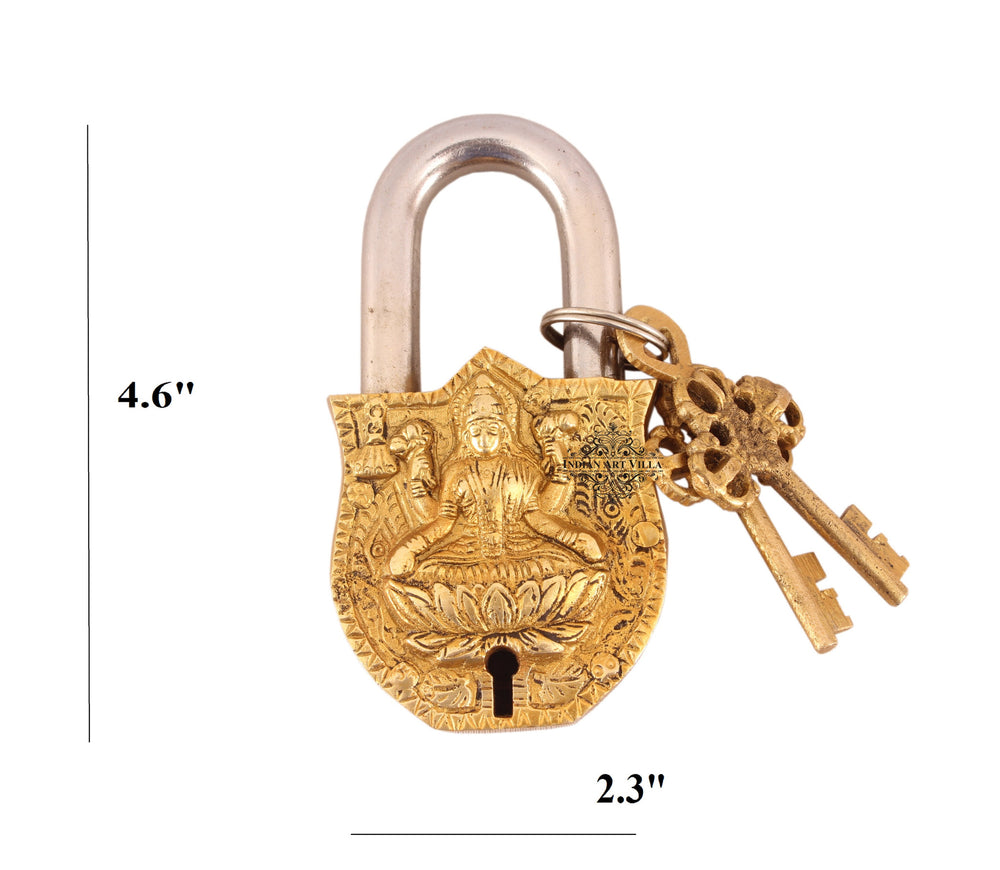 Brass Laxmi Ji Design Lock with 2 Key