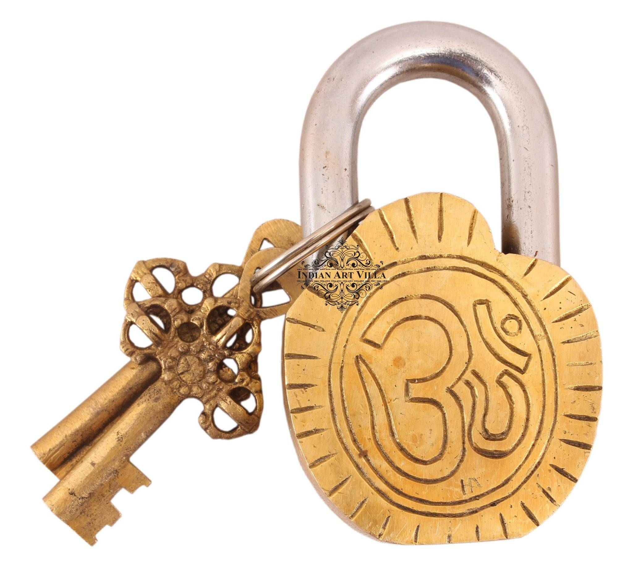 Brass Maa Kali Design Lock with 2 Keys