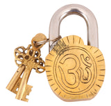 Brass Radha Krishna Ji Design Lock with 2 Key