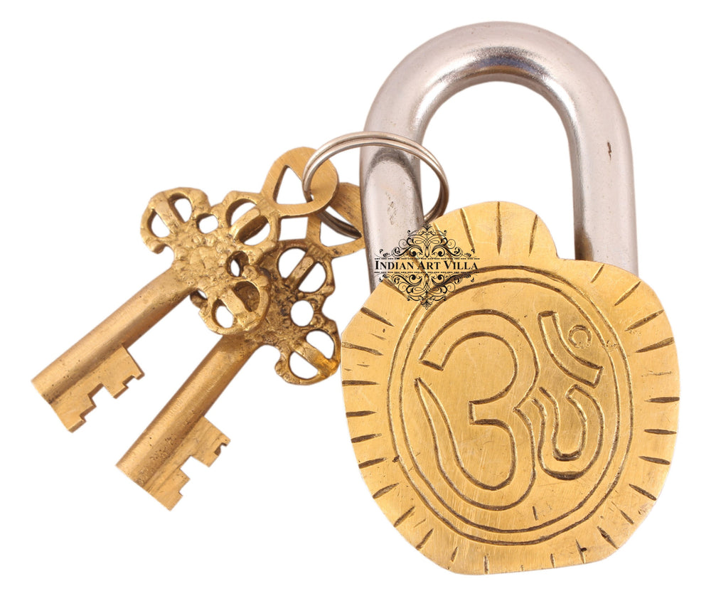 Brass Ram Darbar Design Lock with 2 Key