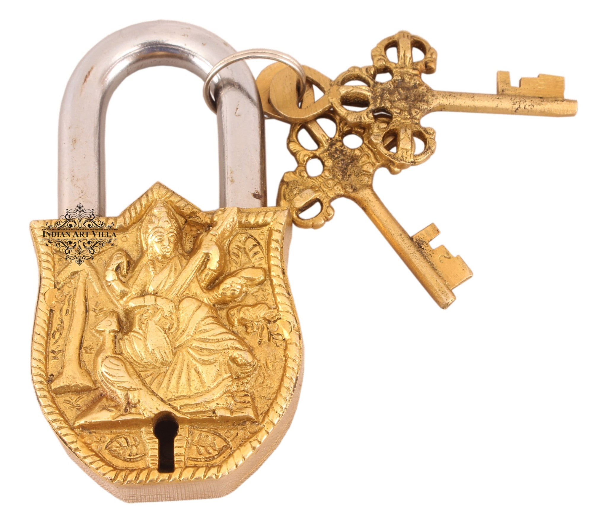 Brass Saraswati Ji Design Big Lock with 2 Keys