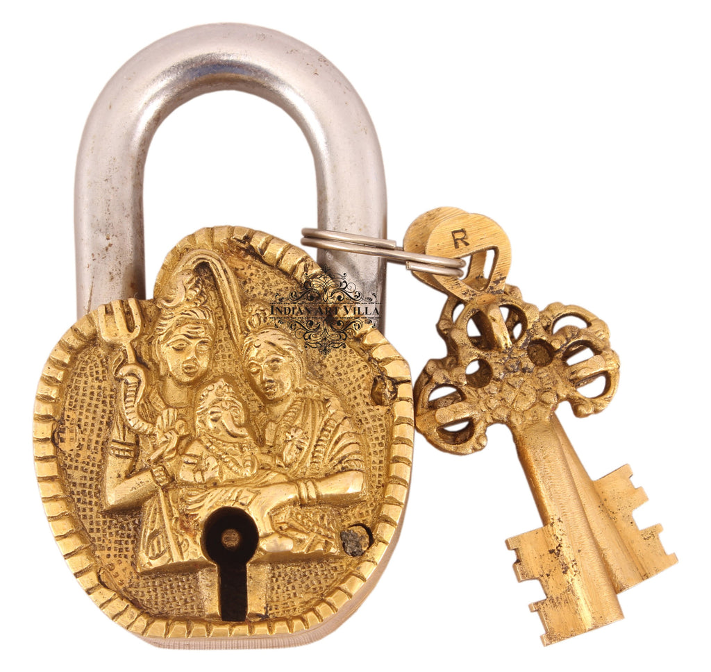 Brass Shiv Pariwar Design Lock with 2 Keys