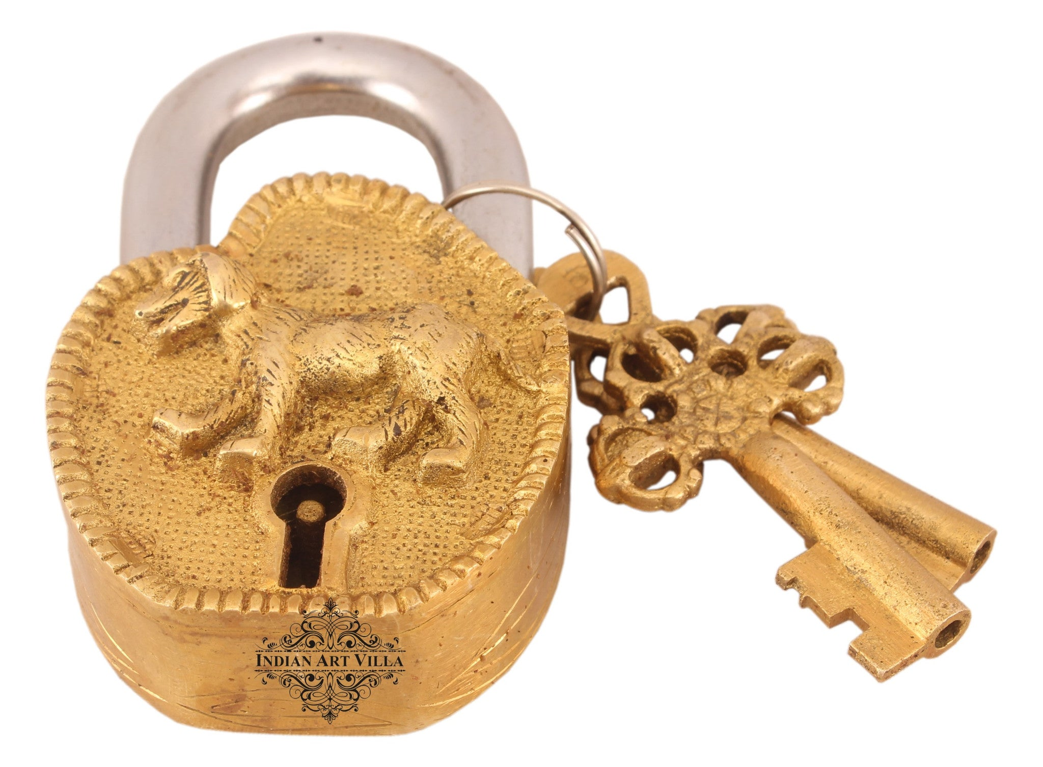 Brass Dog Design Lock with 2 keys