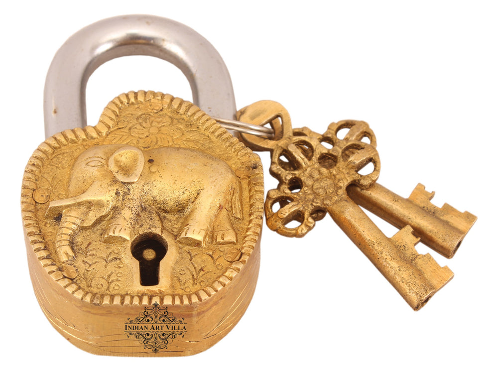 Brass Elephant Design Lock with 2 Keys