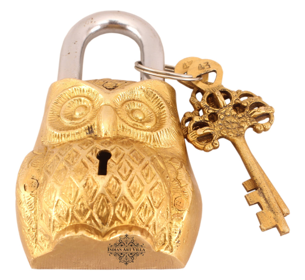 Brass Owl Design Lock with 2 Keys