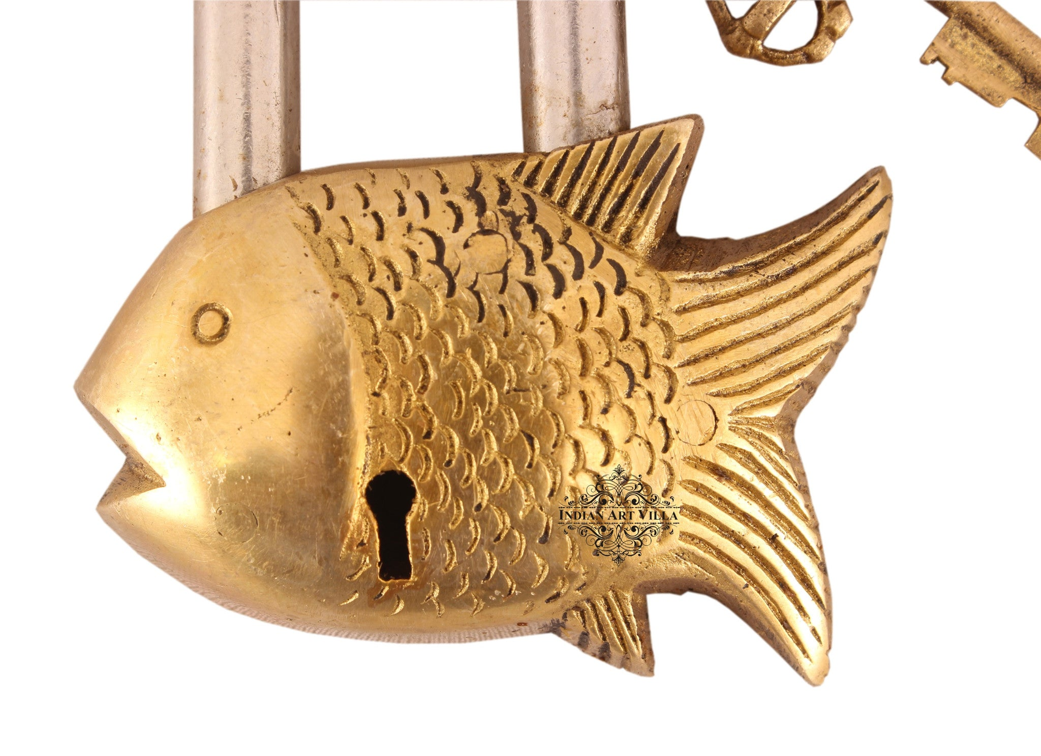 Brass Small Fish Shape Design Lock with 2 Keys