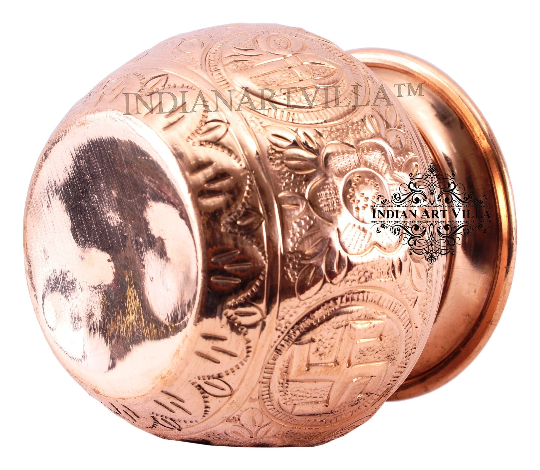 "Copper Lining Swastik Design Lota - 3"" Inch Height"