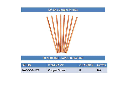 Copper Set of 8 Plain Design Straight Solid Straw