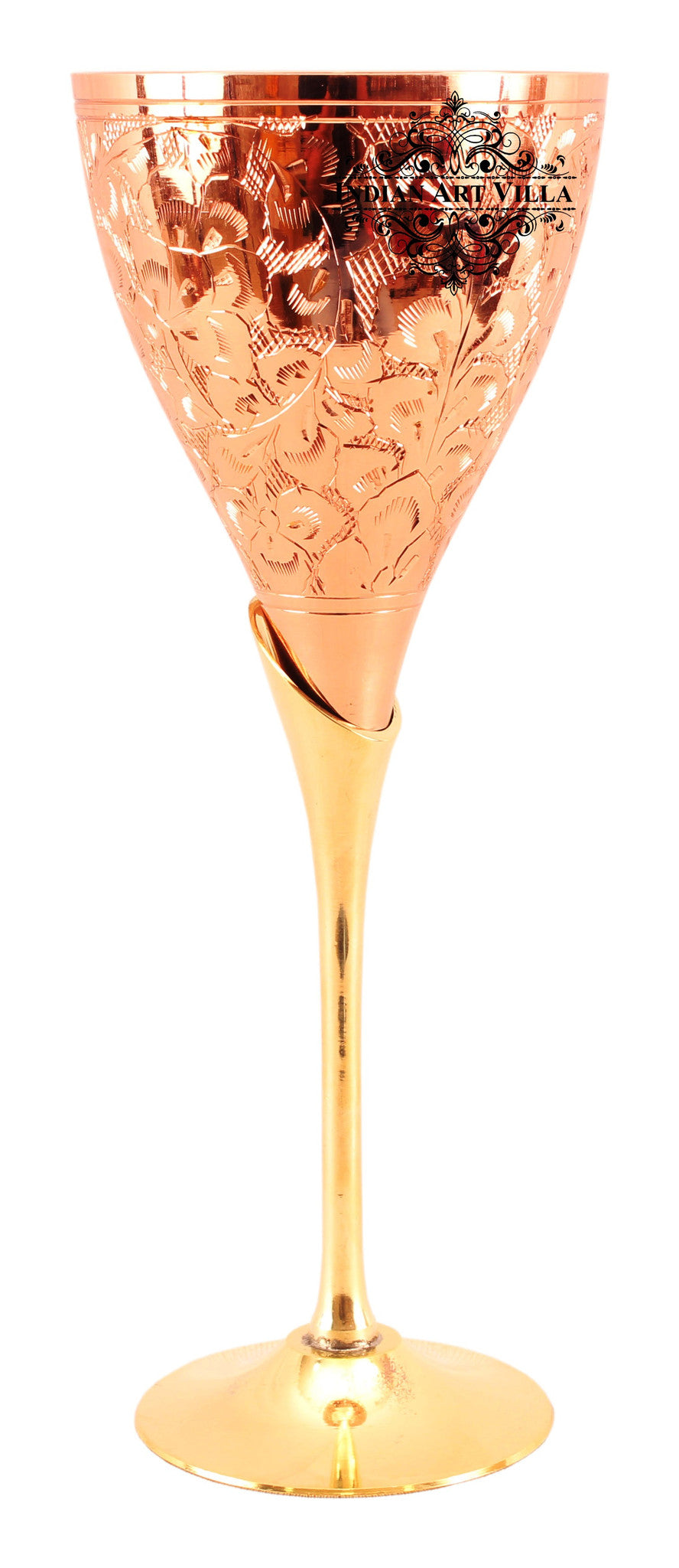 Copper Designer Champagne Glass with Brass Stand