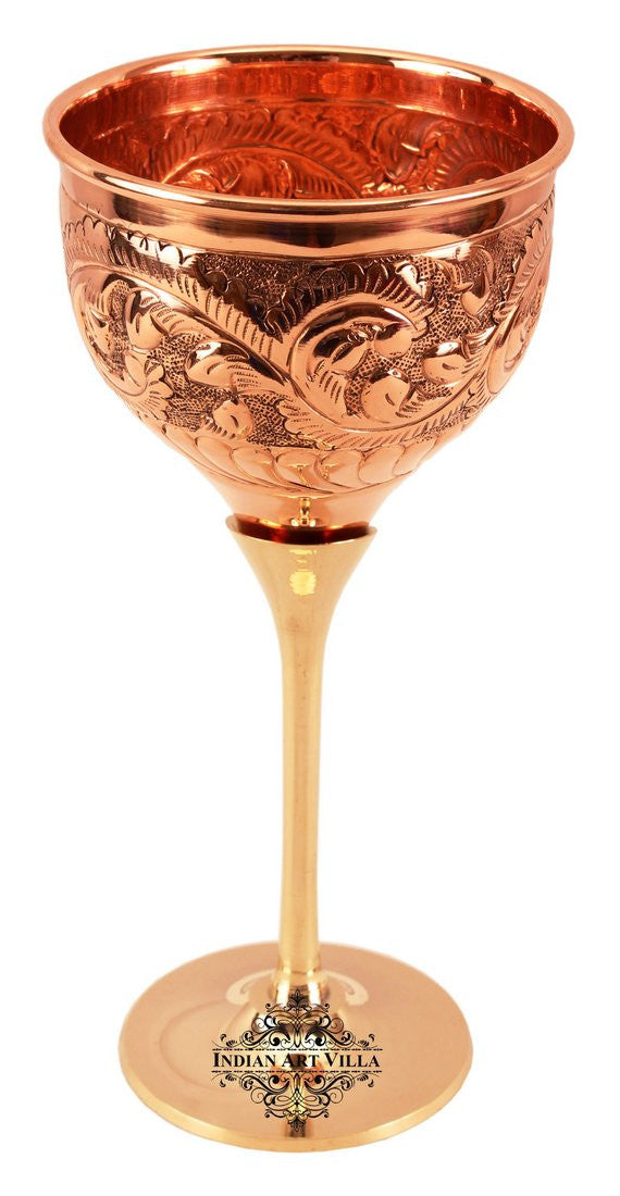 Copper Designer Wine Glass with Brass Stand