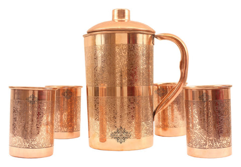 Pure Copper Handmade Embossed Design Jug Pitcher 1500 ML with 4 Glass Tumbler 300 ML  ( 5 Pieces )