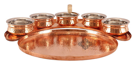 Copper Maharaja Style Full Moon Tray Plate with 5 Serving Sauce Pots