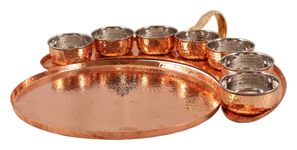 Copper Maharaja Style Full Moon Tray Plate with 7 Hammered Serving Bowl