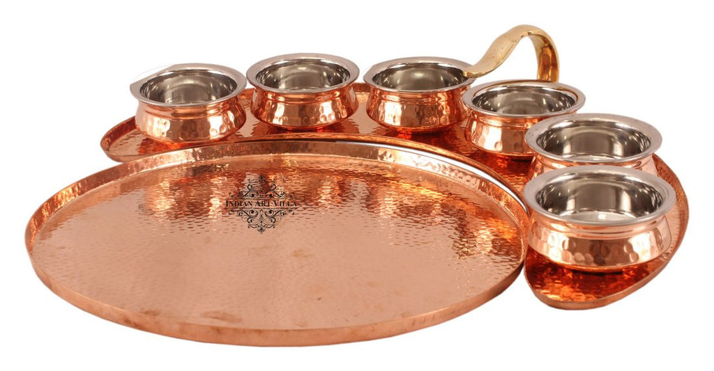 Copper Maharaja Style Full Moon Tray Plate with 6 Serving Sauce Pots